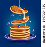 pancakes with blueberries on... | Shutterstock .eps vector #1447304780