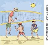 men playing beach volleyball | Shutterstock .eps vector #144731098