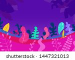 cartoon abstract landscape with ... | Shutterstock .eps vector #1447321013