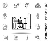 robotics blueprint outline icon....
