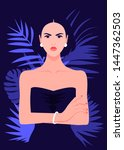 angry woman in a fashionable... | Shutterstock .eps vector #1447362503