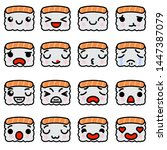 set of emoji sushi icons with... | Shutterstock .eps vector #1447387079