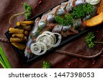 Stock photo herring in the restaurant on the table 1447398053