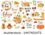 autumn set cute hand drawn fall ... | Shutterstock .eps vector #1447401473