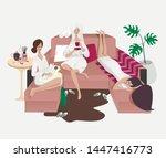 three young girls relaxing... | Shutterstock .eps vector #1447416773