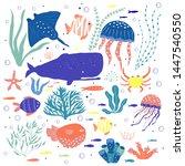 underwater creatures octopus ... | Shutterstock .eps vector #1447540550