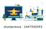 vector illustration  meditation ... | Shutterstock .eps vector #1447550393
