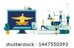 vector illustration  meditation ... | Shutterstock .eps vector #1447550393