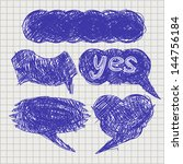 set of vector chat bubbles in... | Shutterstock .eps vector #144756184