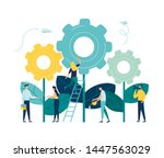 flat vector illustrations  team ... | Shutterstock .eps vector #1447563029