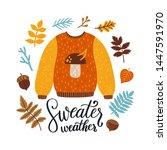vector autumn greeting card... | Shutterstock .eps vector #1447591970