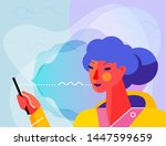 concept banner with woman using ... | Shutterstock .eps vector #1447599659
