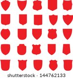 vector red shields set | Shutterstock .eps vector #144762133