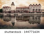 Fish Village in Kaliningrad. Russia (stylized in vintage style) - stock photo