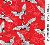 beautiful japanese white cranes.... | Shutterstock .eps vector #1447758173