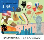 usa icon set on pop style... | Shutterstock .eps vector #1447788629