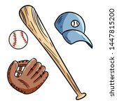 baseball  baseball bat  hat and ... | Shutterstock .eps vector #1447815200
