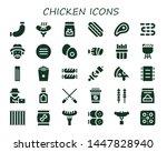 chicken icon set. 30 filled... | Shutterstock .eps vector #1447828940