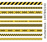 yellow and black barricade... | Shutterstock .eps vector #1447842143