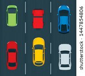 top view cars on road.  traffic ... | Shutterstock .eps vector #1447854806