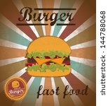 burger  design over grunge... | Shutterstock .eps vector #144788068