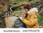 woman hiking backpack hiking... | Shutterstock . vector #1447951070