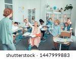active class. smiling children... | Shutterstock . vector #1447999883