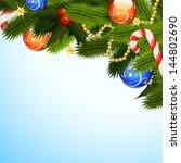 christmas background with fir... | Shutterstock . vector #144802690