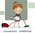 woman with vacuum cleaner | Shutterstock .eps vector #144804166