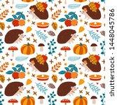 vector autumn seamless pattern... | Shutterstock .eps vector #1448045786