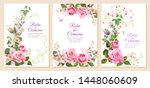 set of wedding invites with... | Shutterstock .eps vector #1448060609