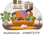 teenagers reading books in the...   Shutterstock .eps vector #1448072279