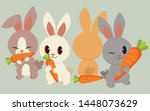 Stock vector the character of cute rabbits with the carrot the rabbit holing and eatting the carrot rabbit 1448073629