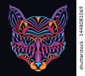 decorative cat face in glow... | Shutterstock .eps vector #1448081069