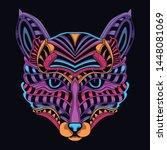 decorative cat face in glow... | Shutterstock .eps vector #1448081069