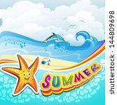 summer beach with starfish and... | Shutterstock .eps vector #144809698