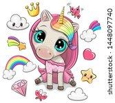 cartoon rainbow unicorn girl...   Shutterstock .eps vector #1448097740