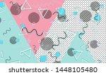 90s pattern. memphis style.... | Shutterstock .eps vector #1448105480