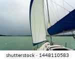 Sailboat on the lake Balaton ship prow view