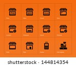 shop icons on orange background....