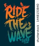 surf slogan vector design for t ... | Shutterstock .eps vector #1448153840