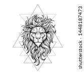 vector black and white tattoo... | Shutterstock .eps vector #1448187473