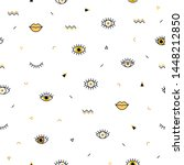 memphis pattern with... | Shutterstock .eps vector #1448212850