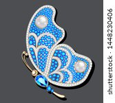 jewelry gold butterfly brooch... | Shutterstock .eps vector #1448230406