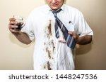 office worker spills coffee on... | Shutterstock . vector #1448247536