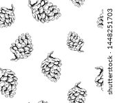 pine cone pattern. hand drawn... | Shutterstock . vector #1448251703