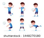set of boy volleyball player in ... | Shutterstock .eps vector #1448270180