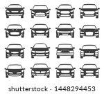 car front view black icon set ...   Shutterstock .eps vector #1448294453