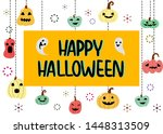 happy halloween with pumpkin... | Shutterstock .eps vector #1448313509