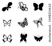 Stock vector butterfly silhouette icons set vector illustrations 1448314610